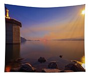 South Holston By Moon And Firelight Tapestry