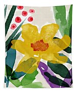 Spring Garden Yellow- Floral Art By Linda Woods Tapestry