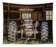Square Format Old Tractor In The Barn Vermont Tapestry