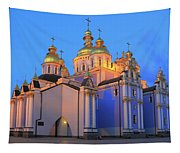St Michael's Golden-domed Monastery At Dusk Kiev Ukraine Tapestry