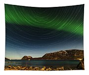 Startrail Over Northern Lights Tapestry