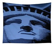 Statue Of Liberty In Cyan Tapestry
