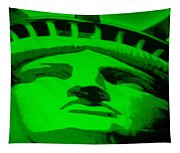 Statue Of Liberty In Green Tapestry