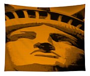 Statue Of Liberty In Orange Tapestry
