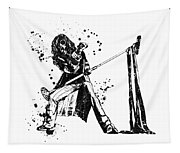 Steven Tyler Microphone Aerosmith Black And White Watercolor 01 Tapestry