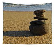 Stone Balance On The Beach Tapestry