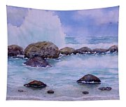 Stormy Shore On Nisyros Greece Tapestry