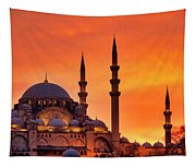 Suleymaniye Mosque At Sunset Tapestry