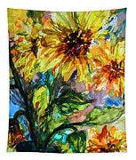 Sunflowers Summer Flowers Mixed Media Tapestry
