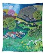 Sunny Suburban Sunday Tapestry