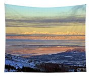 Sunrise View Across Cook Inlet From Above Anchorage Alaska Tapestry