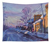Sunset In A Snowy Street Tapestry