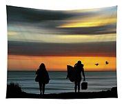 Surfer Girls Silhouette Tapestry