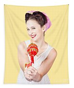 Sweet Lolly Shop Lady Offering Over Red Lollipop Tapestry