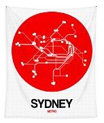 Sydney Red Subway Map Tapestry