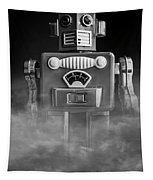 Take Me To Your Leader Vintage Tin Toy Robot Black And White Tapestry