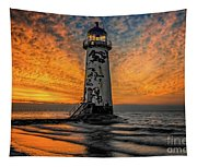 Talacre Beach Lighthouse Sunset Tapestry