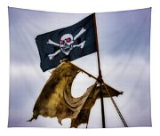 Tattered Sail And Pirate Flag Tapestry