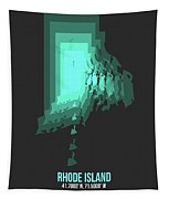 Teal Map Of Rhode Island Tapestry