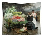 The Flower Vendor On The Quays In Paris Tapestry