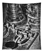 The Telegraph And Glass Insulators Black And White Tapestry