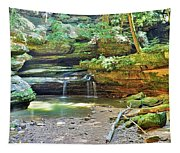 The Waterfall In Old Man's Cave Hocking Hills Ohio Tapestry