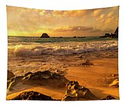 Thoughtful Morning Golden Coastal Paradise  Tapestry