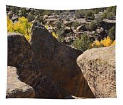 Top Of Rocks Above Canyon In Fall Tapestry