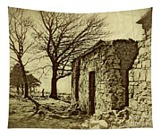 Tree And Ruins Tapestry
