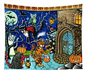 Trick Or Treat Halloween Cats Tapestry