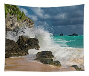 Tropical Beach Splash Tapestry