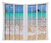 Tropical Paradise Beach Day Windows Tapestry