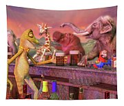 Tropical Paradise Sunset Bar Tapestry