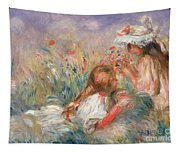 Two Children Seated Among Flowers, 1900 Tapestry