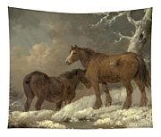 Two Horses In The Snow Tapestry