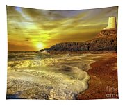 Twr Mawr Lighthouse Sunset Tapestry