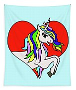Unicorn In The Heart On Baby Blue Kids Room Decor Tapestry