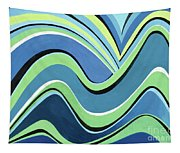 Untitled  Abstract Blue And Green Tapestry