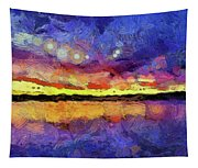 Van Gogh Sunset Reflection Tapestry