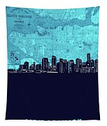 Vancouver Skyline Map Turquoise Tapestry