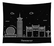 Vancouver Skyline Travel Poster Tapestry
