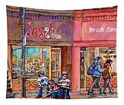 Verdun Montreal Storefront Painting Jessie Et Cie Beaute Candy Nail Shop Hockey Artist C Spandau Art Tapestry