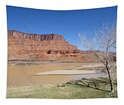 View From A Cabin At Sorrel River Ranch On The Colorado River Ne Tapestry