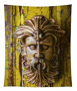 Viking Mask On Old Door Tapestry