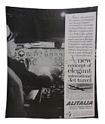 Vintage Alitalia Airline Advertisement Tapestry