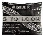 Vintage Associated Master Barber Sign Black And White Tapestry