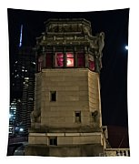 Vintage Chicago Bridge Tower At Night Tapestry