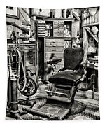 Vintage Dentist Office And Drill Black And White Tapestry