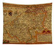 Vintage Map Of Belgium And Flanders Tapestry