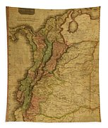 Vintage Map Of Columbia 1818 Tapestry